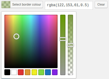 Colour picker with alpha channel support.