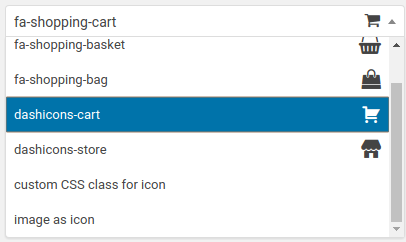 Cart icon selection