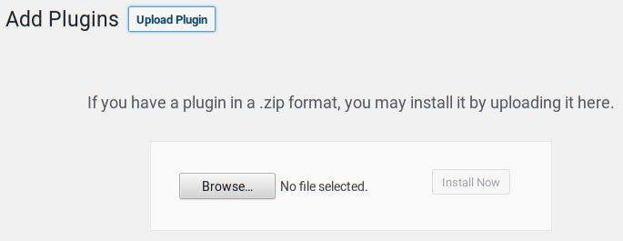 Uploading a plugin in the WordPress admin
